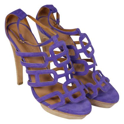 Hermès Camoscio tacchi alti viola