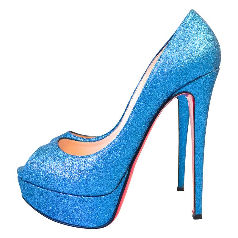 Christian Louboutin Blauw glinsterende hoge hakken