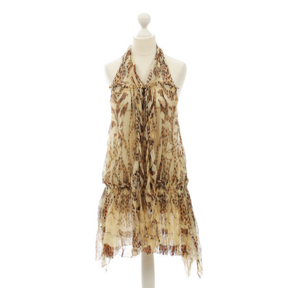 Roberto Cavalli Silk dress with Leopard print