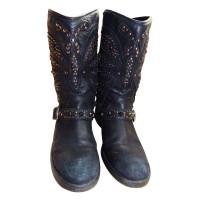 Ash Black biker boots with studs