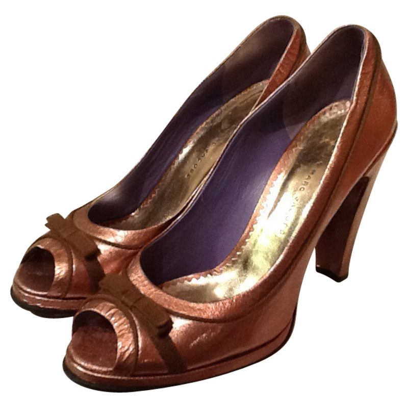Marc by Marc Jacobs Bronze-colored peep-toes