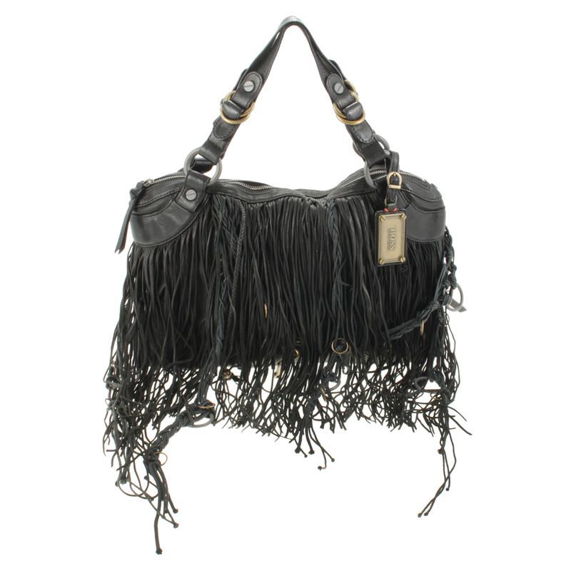 hugo boss black hobo bag with fringe buy second hand hugo boss black hobo bag with fringe for. Black Bedroom Furniture Sets. Home Design Ideas