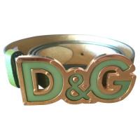 D&G Groene gordel met logo gesp
