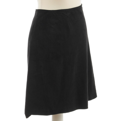 Carolina Herrera Black velour leather skirt
