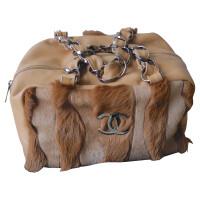 Chanel Leren tas met bont