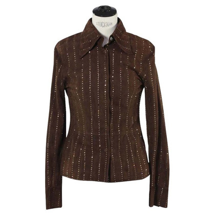 Dolce & Gabbana Suede leather blouse with Rhinestone