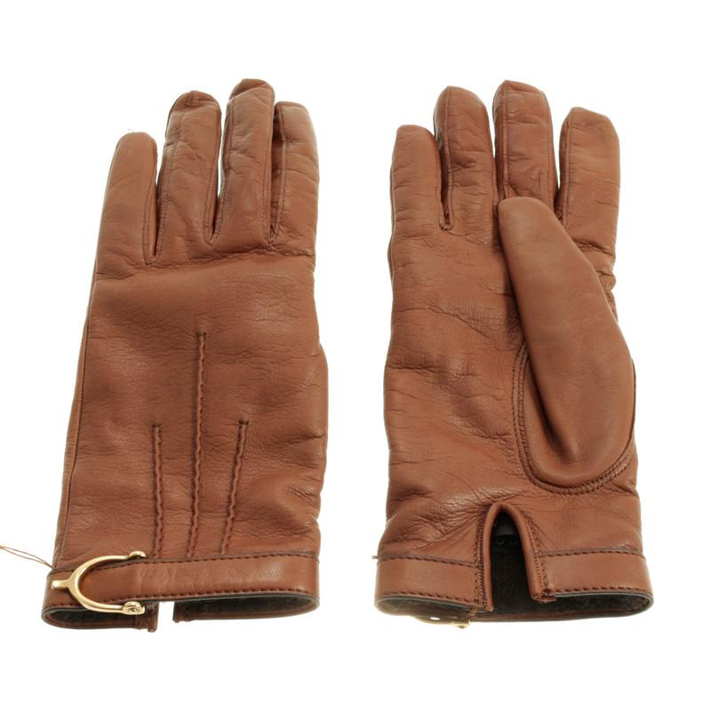 Gucci Bruin lederen handschoenen   Koop tweedehands Gucci Bruin lederen handschoenen voor  u20ac110