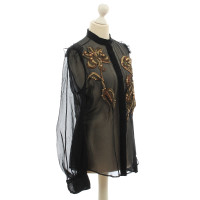 Yves Saint Laurent Transparent blouse with embroidery in gold