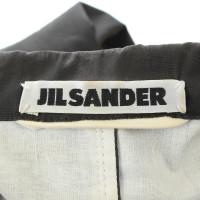 Jil Sander Blazer en anthracite avec coutures contrastantes blanc