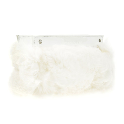 Longchamp White fur clutch