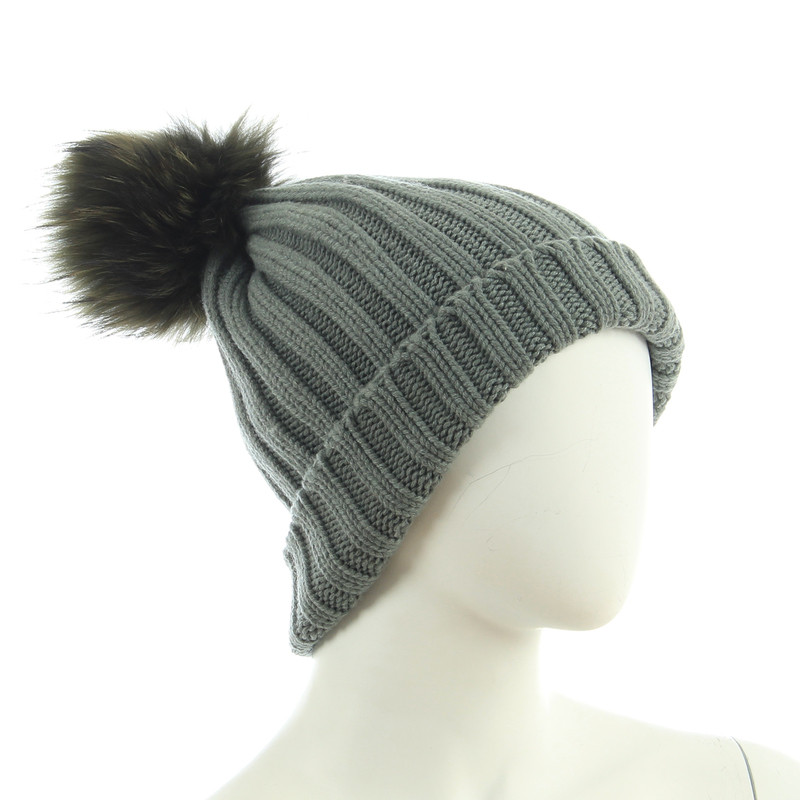 B Private Cashmere hat with fur trim