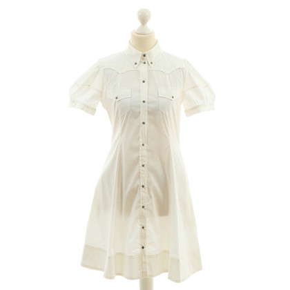 Richmond Weißes Kleid mit Skull-Knöpfen