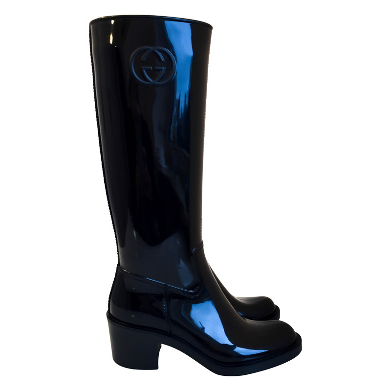 Rubberen Schoudertassen : Gucci glanzende zwarte rubberen laarzen koop tweedehands
