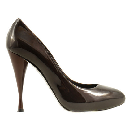René Caovilla Brown Lackleder-Pumps