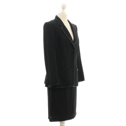 Rena Lange Costume con trim strass nero