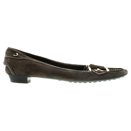 Car Shoe Ballerine in pelle scamosciata marrone