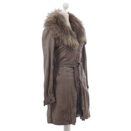 Giorgio Brato Leather coat with fur trim