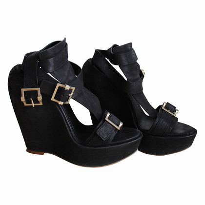 Givenchy Schwarze Wedge-Sandalen aus Leder