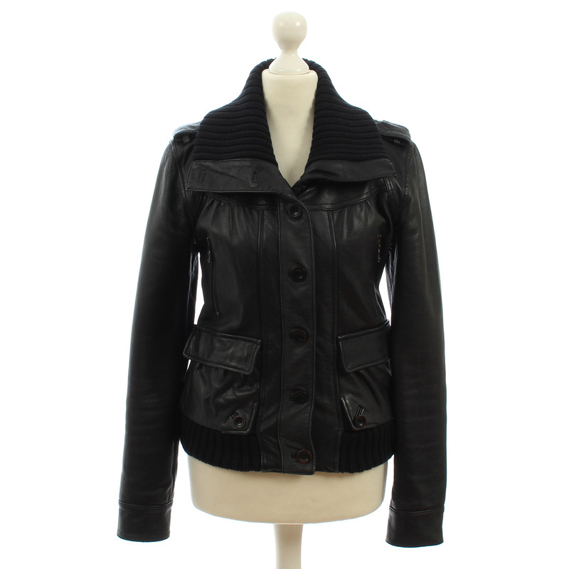 Closed Black leather jacket with knit wrist