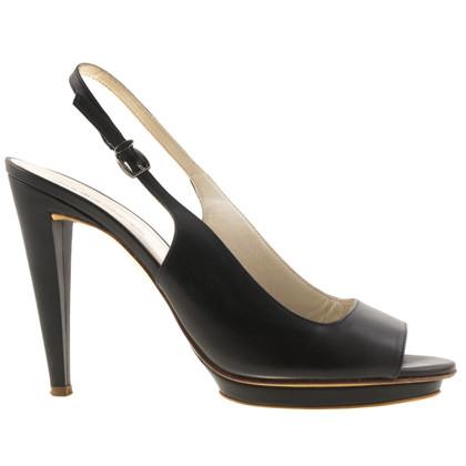 Jil Sander Sling peep-dita dei piedi in nero