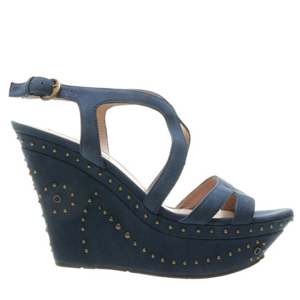 Pura Lopez Wedges in teal