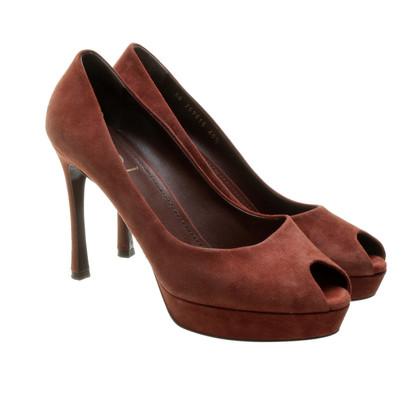 Yves Saint Laurent Peep-toes in rust-brown