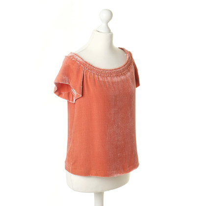 Cacharel Orangefarbenes Top in Samtoptik