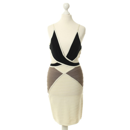 Herve Leger Dress in black, cream and beige