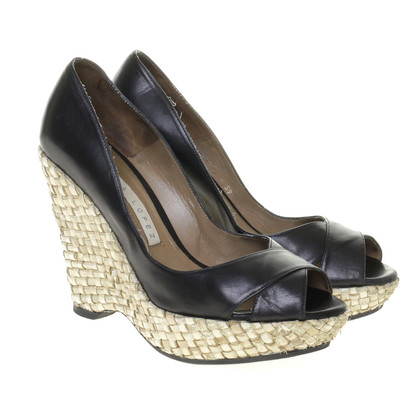 Pura Lopez Wedges with bast plateau