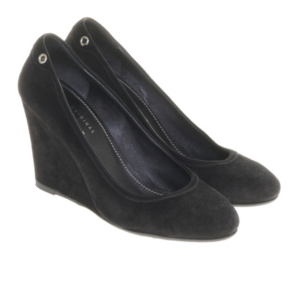 Car Shoe Suede leather pumps with wedge heel