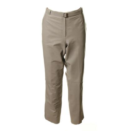 Armani Lederen broek in steen grijs