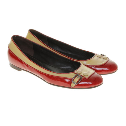Céline Ballerinas in cream and Red
