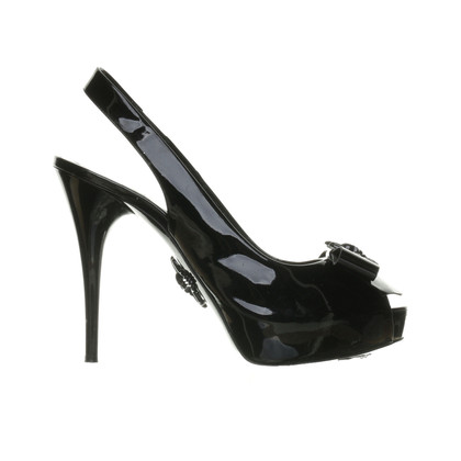 Philipp Plein Black peep-toes with skull detail