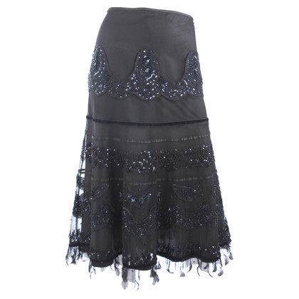 Ella Singh Evening skirt with feathers and sequins