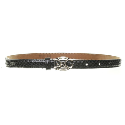 D&G Black reptile leather belt