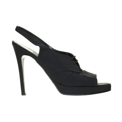 Rena Lange Black Sling Peeptoe with lacing