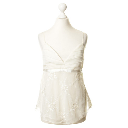 Strenesse Cream-coloured tank top with lace trim