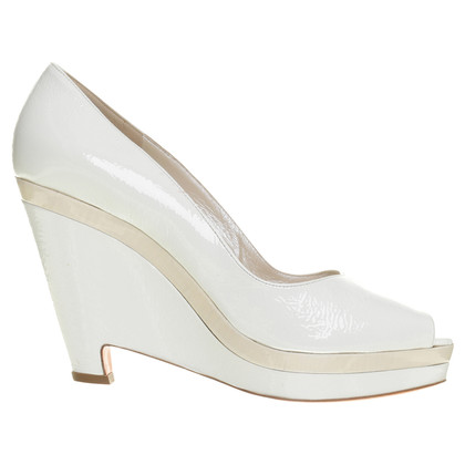 Jil Sander Peeptoe-Wedges in Weiß
