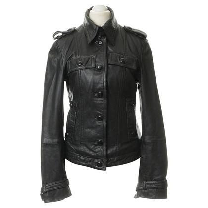 Drykorn Leather jacket in black