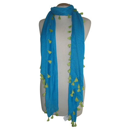 Other Designer Blue scarf with green fringes