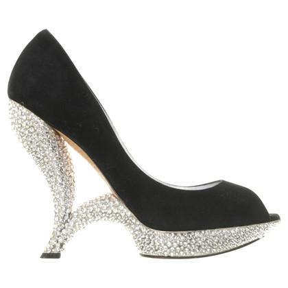 Casadei Peep-toes with semi-precious stones