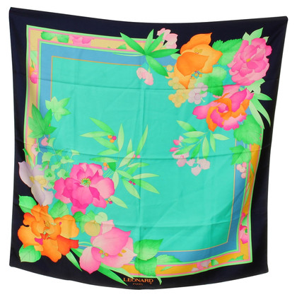 Leonard Zijden sjaal met bloemenprint