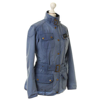 Barbour Jacket in blue with belt