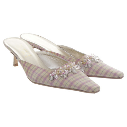 Badgley Mischka Pink Blue gingham mules