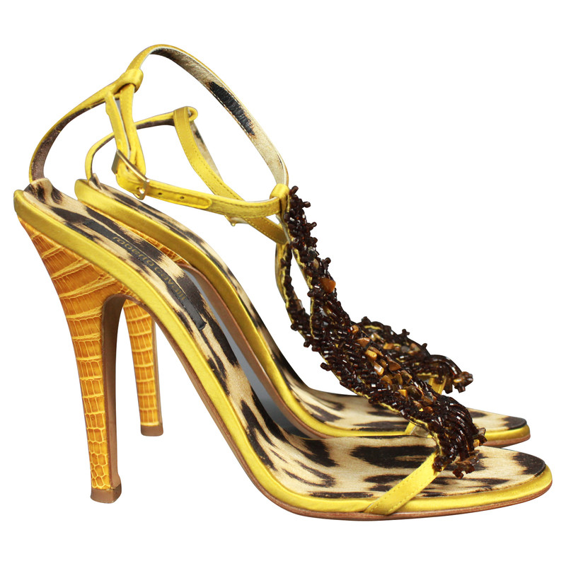 Roberto Cavalli Sandals with real leather and glass beads