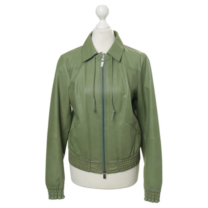 Boss Orange Leather jacket in green