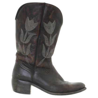 Golden Goose Stivali da cowboy con ricamo Tulip