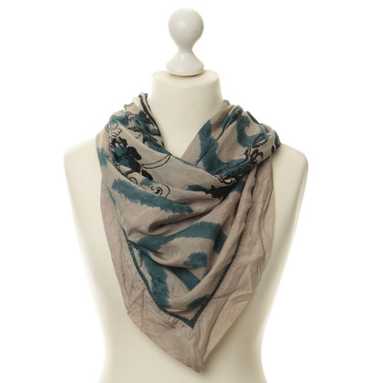 Closed Silk scarf in Taupe and teal