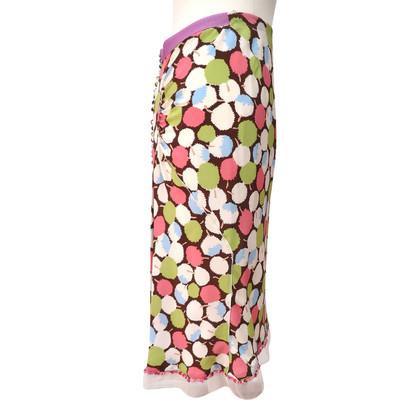 Louis Vuitton Zijde rok met kleurrijke patroon