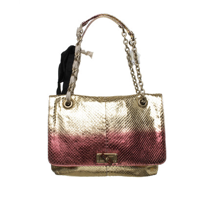 Lanvin Tote in gold and Red reptile leather